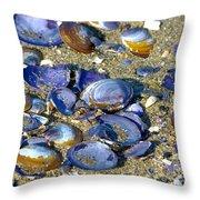 Purple Clam Shells On A Beach Throw Pillow
