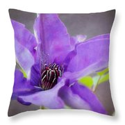 Purple Clematis Close Up Throw Pillow