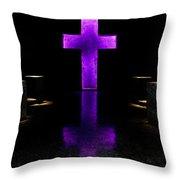 Purple Cross Throw Pillow