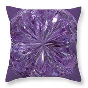 Purple Crystal Gem Throw Pillow