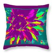 Purple Dahlia Pop Art Throw Pillow
