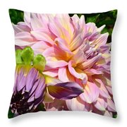 Purple Dahlia With Bud Throw Pillow