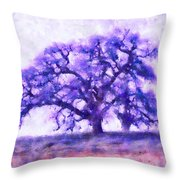 Purple Dreamtime Oak Tree Throw Pillow