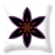 Purple Echinacea I Flower Mandala White Throw Pillow