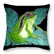 Purple Eyed Frog Throw Pillow