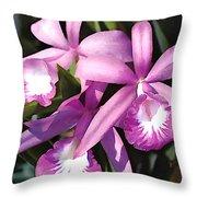 Purple Flock Of Cattleya Orchids Throw Pillow