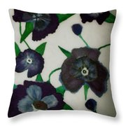 Purple Floral Burst Throw Pillow