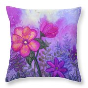 Purple Floral Fantasy Throw Pillow