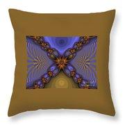 Purple  Flower Fractal Throw Pillow