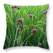 Purple Flowers And Grasses Throw Pillow