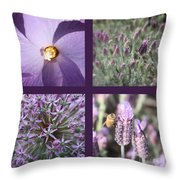 Purple Flowers Collage Throw Pillow