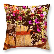 Purple Flowers In Rusty Bucket Throw Pillow