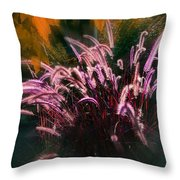 Purple Fountain Grass Fantasy Throw Pillow
