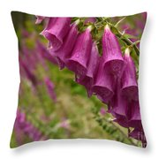 Purple Foxglove Throw Pillow