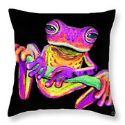 Purple Frog On A Vine Throw Pillow