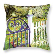 Purple Garden Gate Throw Pillow