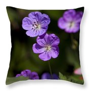 Purple Geranium Flowers Throw Pillow
