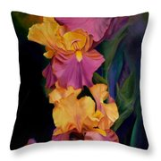 Purple Gold Irises  Throw Pillow