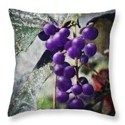 Purple Grapes - Oil Effect Throw Pillow