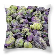 Purple Green Brussels Sprouts Throw Pillow