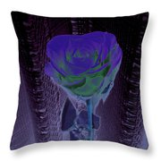 Purple Green Dark Rose Throw Pillow
