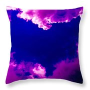 Purple Heart And Pink Clouds Throw Pillow