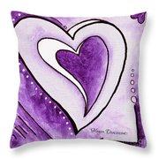 Purple Heart Love Painting Pop Art Blessed By Megan Duncanson Throw Pillow by Megan Duncanson
