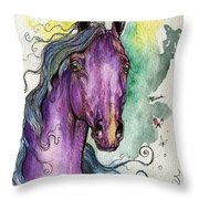 Purple Horse Throw Pillow by Angel  Tarantella