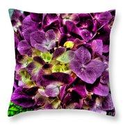 Purple Hortensia After Summer Rain Throw Pillow