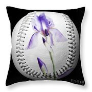 Purple Iris High Key Baseball Square Throw Pillow by Andee Design