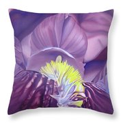Georgia O'keeffe Style-purple Iris Throw Pillow