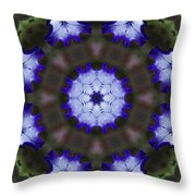 Purple Iris Kaleidoscope Throw Pillow