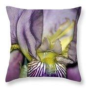 Purple Iris - Macro Throw Pillow
