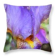Purple Iris Macro Throw Pillow
