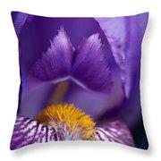 Purple Iris Macro Textured 1 Throw Pillow