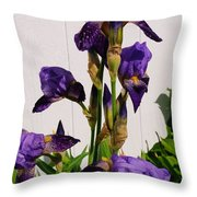 Purple Iris Stalk Throw Pillow