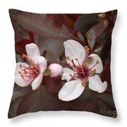 Purple Leaf Sand Cherry Burst Throw Pillow