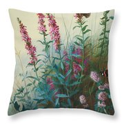 Purple Loosestrife And Watermind Throw Pillow