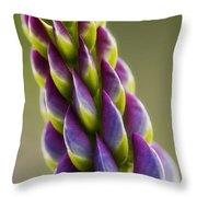 Purple Lupine Macro Throw Pillow