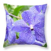 Purple Mokara Orchid Throw Pillow