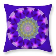Purple Morning Glory Kaleidoscope Throw Pillow