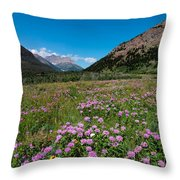 Purple Mountain Flowers Throw Pillow