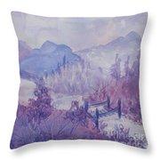 Purple Mountains Fantasy Throw Pillow