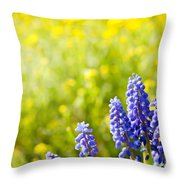 Blue Muscari Mill Bunches Of Grapes Close-up  Throw Pillow