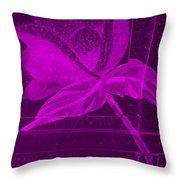 Purple Negative Wood Flower Throw Pillow