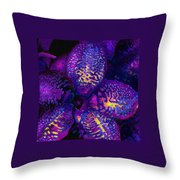 Purple Orchid Abstract Throw Pillow