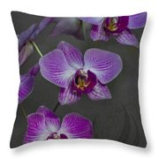 Purple Orchid Flower Throw Pillow