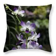 Purple Orchid Flower Inside The National Orchid Garden In Singapore Throw Pillow
