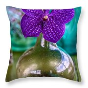 Purple Orchid In Vase Throw Pillow