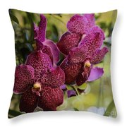 Purple Orchids With Bokeh Throw Pillow